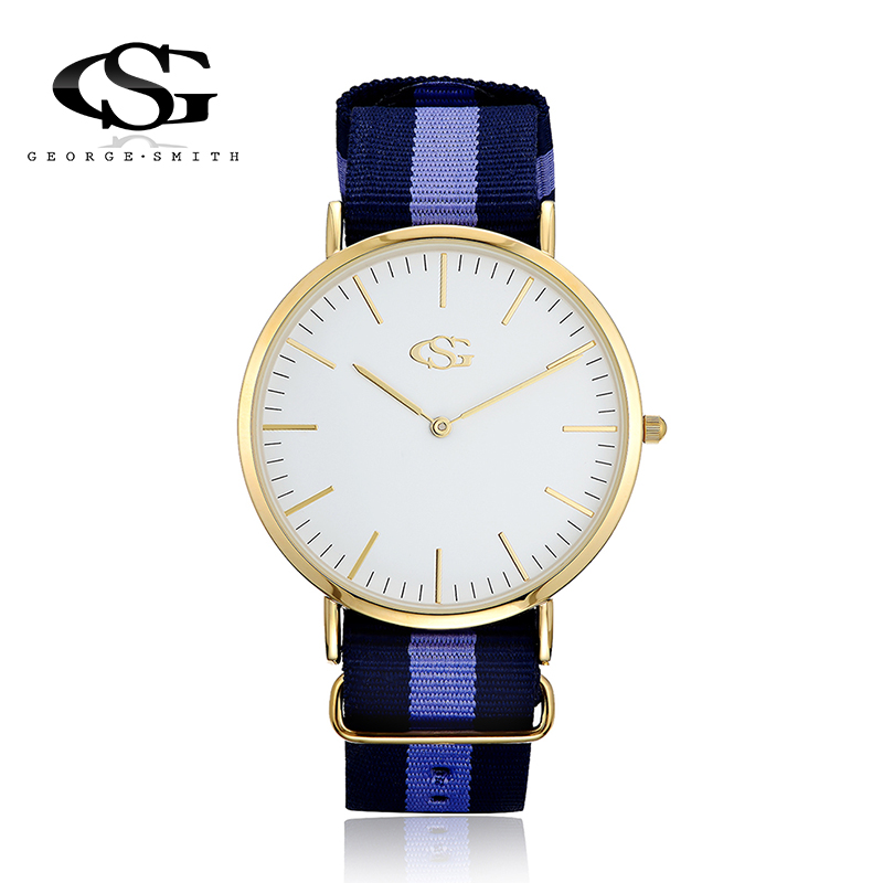 George.Smith Men Quartz Watches DIY Removable Nylon Striped Band Japan Movement Golden Clear Mineral Glass Case Loves Watch<br><br>Aliexpress