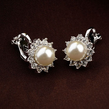 Trendy women's fine jewelry trinkets,small size white pearl flower ear pierced clip earrings.(E80230) - Allencoco store