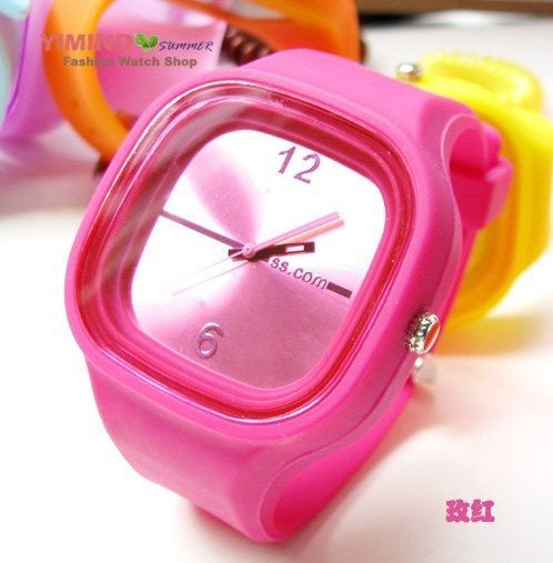 5pc/lot, free shipping HOT! RED Jelly Watch multicolor Fashion Funny Unisex Watch W2