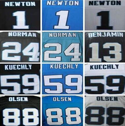 Free shipping Men's Authentic #1 Cam Newton Jersey #24 Josh Norman #59 Luke Kuechly #88 Greg Olsen 100% Stitiched Logo Jerseys(China (Mainland))