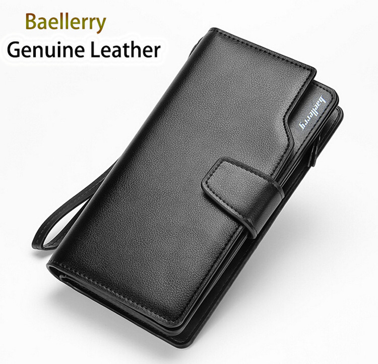 baellerry 2015 new real genuine leather men wallet with diy strape multi card slots and phone pouch balini wallet men(China (Mainland))