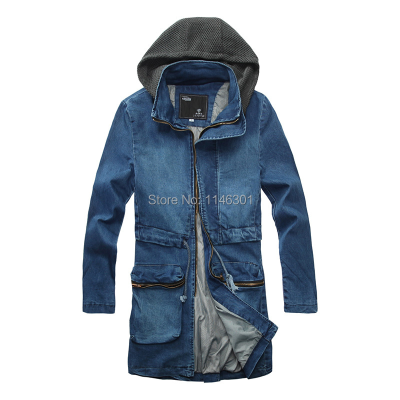 Foreign trade Mens 2014 New Thick Winter Long Single Dreasted Denim Trench Coat Men Cotton-padded Overcoat Windbreaker For MenОдежда и ак�е��уары<br><br><br>Aliexpress