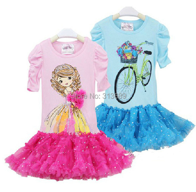 baby girls dress children costumes toddler clothing kid clothes Princess tutu pettidress blue Short sleeve roupa infantil robe(China (Mainland))
