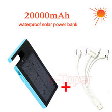 2016 New 20000mAh Waterproof solar power bank bateria external solar charger powerbank with fixed slot convenient watch vedio(China (Mainland))