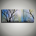 3 panel modern abstract tree of life hand painted oil painting of landscaping wall art decor