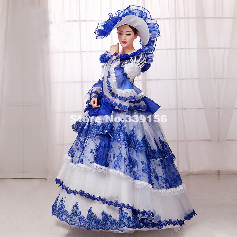 Best Seller Blue Print Flare Sleeve Lace Rococo Marie Antoinette Dress Renaissance Medieval 18th Century Gowns Costumes Vestidos(China (Mainland))