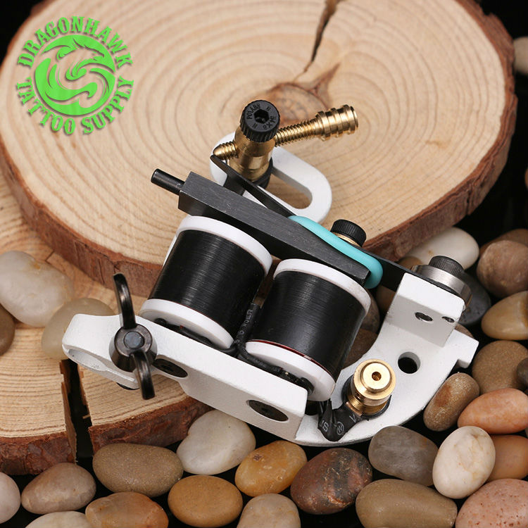 Professional Wire Cutting Tattoo Machine 10 Wraps Coil Tattoo Gun For Shader And Liner White Color Handmade Tattoo Machine