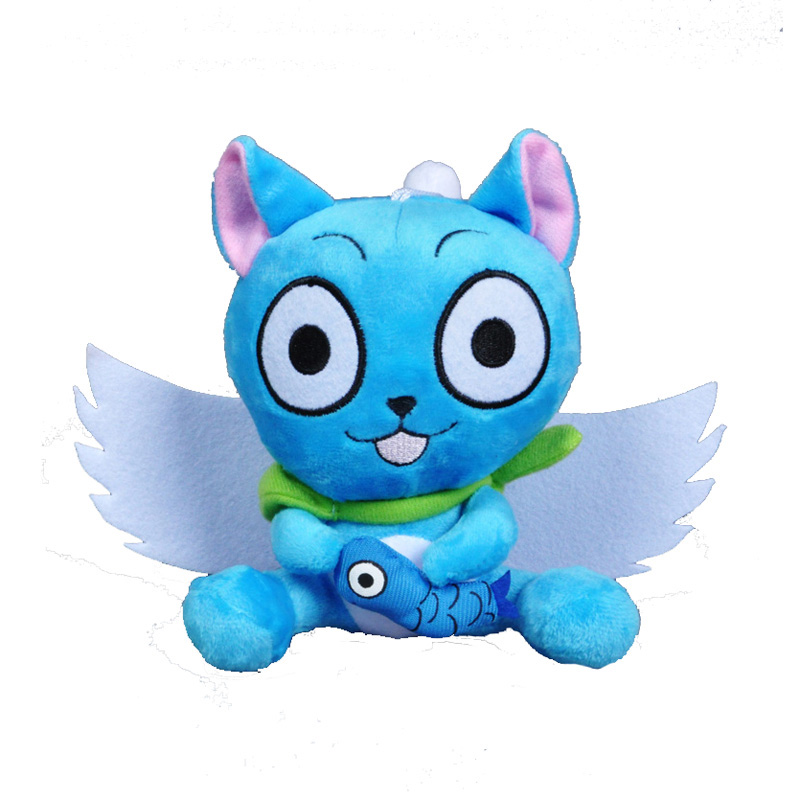 Anime Fairy Tail Habib hold fish stuffed toy Japanese Anime Fairy Tail Naz cat doll kawaii blue cat super wings kids baby toy(China (Mainland))