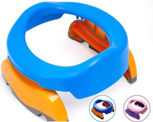 BOHS Baby Portable Toilet Infant Chamber Pots Foldaway Training Seat Potty Ring, Indoor & Outdoor Travel Set, Blue , Free Liners