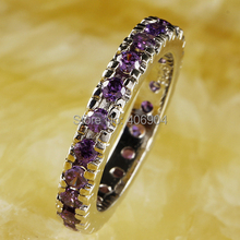Wholesale Dazzling Round Cut Purple Amethyst 925 Silver Ring Size 6 7 8 9 10 11