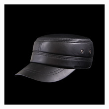 Autumn winter sheepskin hat male flat cap Leather Men's outdoor leisure leather hat cap(China (Mainland))