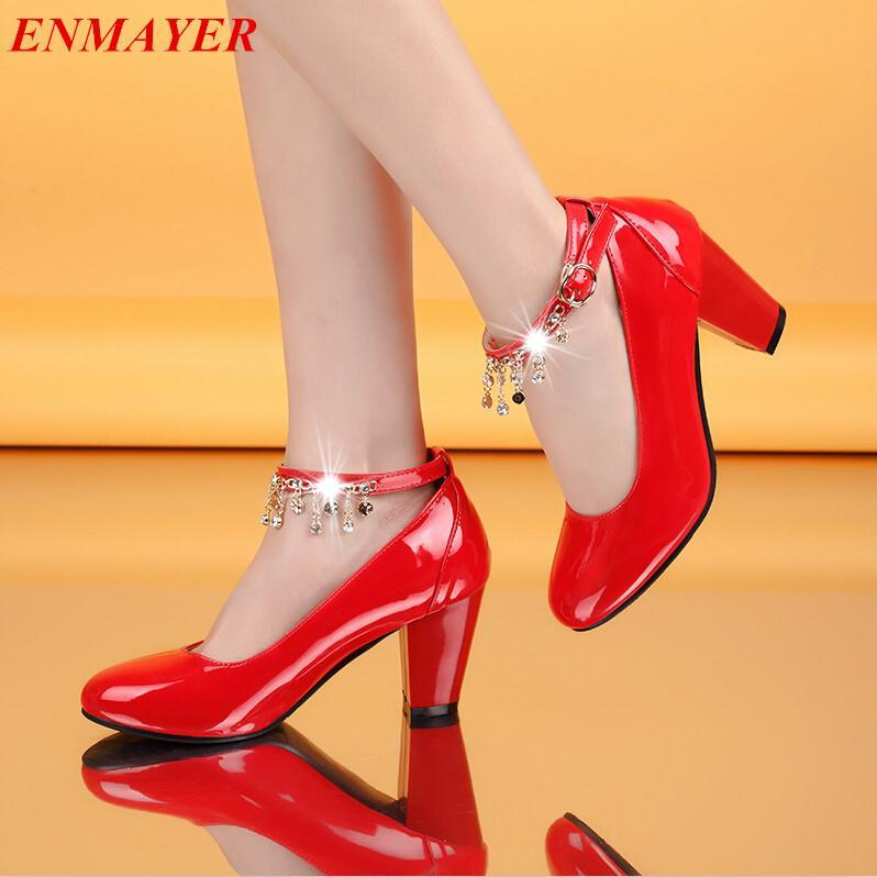 ENMAYER Women pumps Ankle Strap Closed Toe Pointed Toe Square heel Platform pumps Party Tassel Fashion Buckle Strap shoes pumps<br><br>Aliexpress