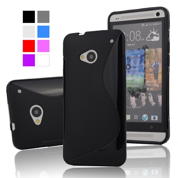 M7 Anti-Skid Ultra Thin Slim S Line Rubber TPU Gel Skin Matte Case For HTC ONE M7 801e 801S Mobile Phone Protective BAGS Cover(China (Mainland))