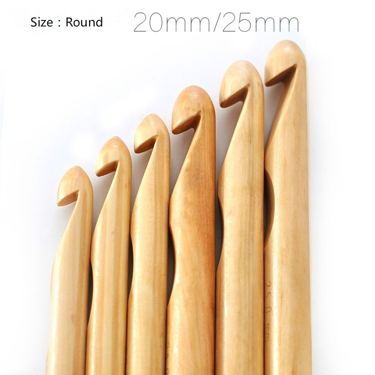 3pcs 18MM/20MM/25MM thick cylindrical wood Crochet super thick Iceland hair with bamboo wooden round knitting needles(China (Mainland))