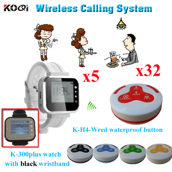 Waiter Paging System 32pcs Of K-H4-WRed Table Button And 5 Pcs K-300plus Of Wrist Watch Reciever(China (Mainland))
