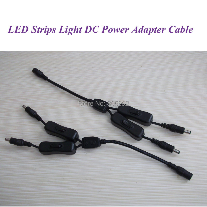 Black LED Light DC Power Cable Splitter Wire 5521 Male Female Connector Strip With Switch ON/OFF - 1000pcs(China (Mainland))