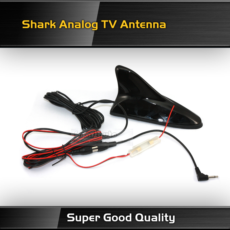 Black High Quality Shark Car Analog TV Antenna with Amplifier+Booster for Car dvd gps player(China (Mainland))