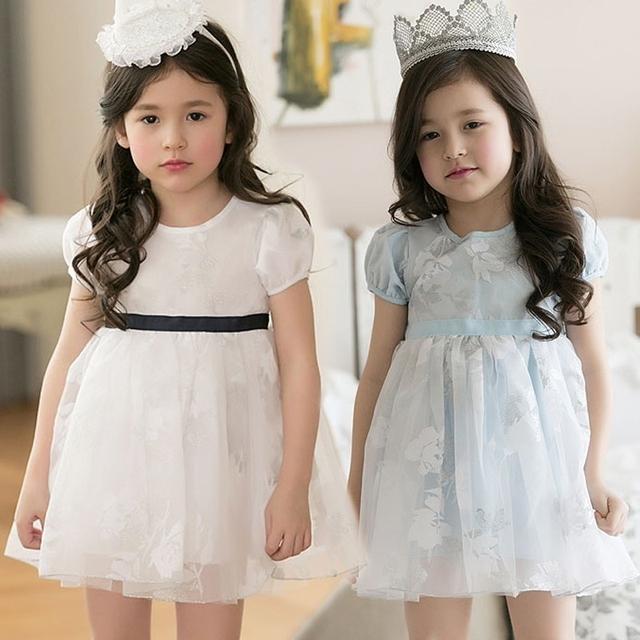 Бесплатная доставка ребенку платья Shortsleeve цветочные кружевном платье детская одежда девушки малыш платье принцессы