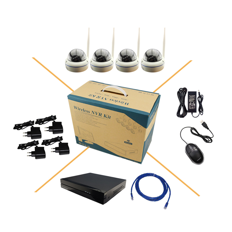 4CH Wireless 1280*960P IP Camera Metal Dome Kit with 4ch NVR Onvif and Private Protocol CCTV System Factory direct sale(China (Mainland))