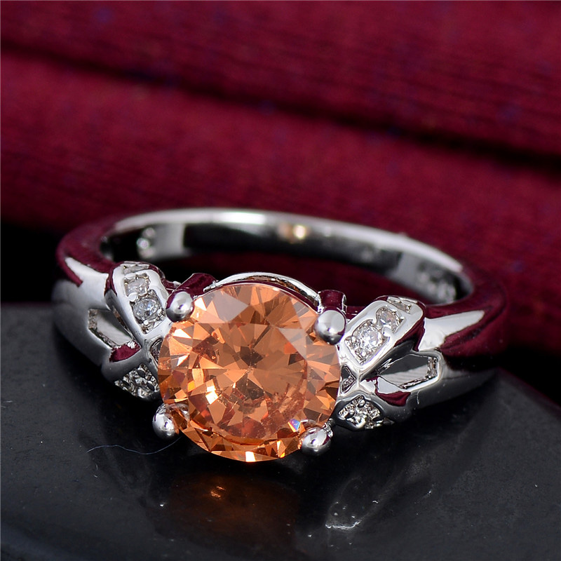 2016 Women Ring One Piece Wholesale Fancy Silver Plated Pink/Red/Orange Cubic Zirconia Ring 6 7 8 9 10 Size High Quality(China (Mainland))