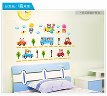 Toy Car kids Cartoon wallpaper vintage child vinyl wall sticker home removable decoration for children's bathroom bedroom(China (Mainland))