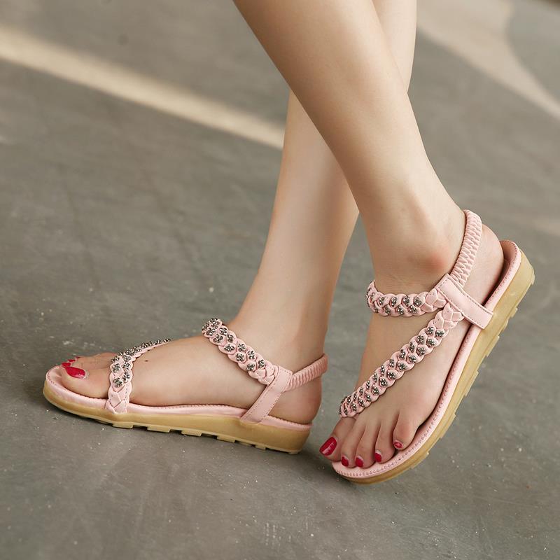 2016 Beige / rosa sandalias de tiras mujer mujeres planas zapatos de estilo de verano Rainstone mujeres zapatos de boda en Sandalias de las mujeres de