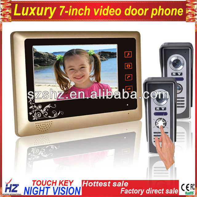 """Free shipping 7"""" fashion rainpoof touch key wired video intercom system 2 to 1"""
