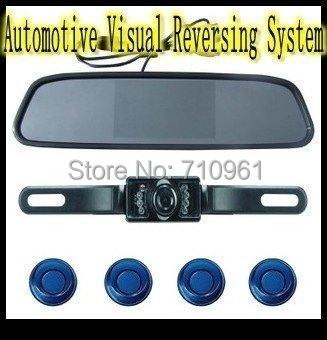 Best price free shipping 4.3 inch  video input Color Rear View  Automotive Visual Reversing System + parking sensors