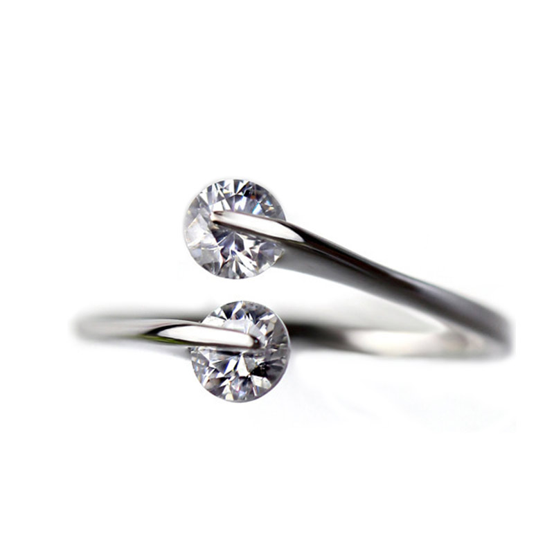925 Sterling Silver Jewelry Fashion Design Twin Zircon CZ Diamond Engagement Rings for Woman