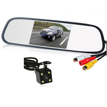 HD Video Auto Parking Monitor LED Night Vision Reversing CCD Car Rear View Camera With 4.3 inch Car Rearview Mirror Monitor(China (Mainland))