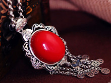 925 sterling silver red coral pendants Thai silver national wind paragraphs women sweater necklace pendant chain tassel(China (Mainland))
