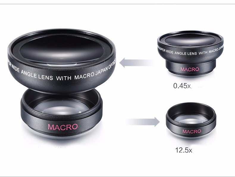 0.45X Super Wide Angle Macro Lens Mobile Phone Camera Lens 37mm Digital Definition Optical Lenses For iPhone 5s 7 Plus Samsung