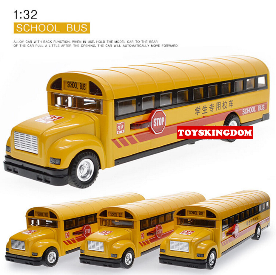 Funny 1:32 scale simulation diecast School bus with light & sound pull back alloy toys open door metal model for children(China (Mainland))