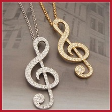 Favorite drill big note necklace sweater chain Music Note Necklace Crystal Necklace Fashion Big Bright Music Notes Long Necklace