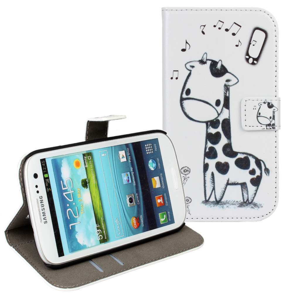 For Samsung Galaxy S3 Cases Cover Cute Funny Giraffe Wallet Bag Mobile Phone Accessory For Samsung Galaxy S3 i9300 Case Coque(China (Mainland))