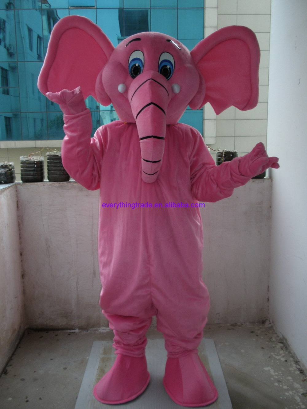 2014 Hot selling Adult cartoon lovely pink elephant mascot costume fancy dress party adult size - Mascots store