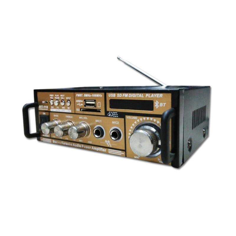 Hi-Fi Bluetooth Receiver Power Sound Amplifier USB FM SD Digital Auto Stereo Power AMP Sound Audio Speaker Music Player BT-118