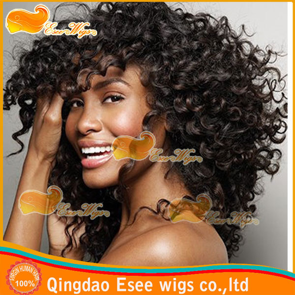 Esee Wigs Free Shipping 100% Human Hair Fashion Wigs Lace Front Wig Afro Kinky Curly Lace Wig Density 150% 2# color(China (Mainland))
