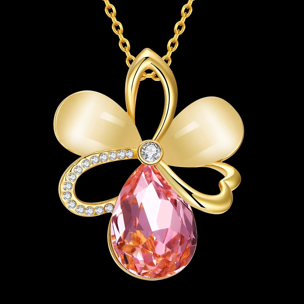 8-925 Sterling Silver Jewelry Vintage Accessories Hollow Flower Design 18K Gold Plated Fashion Jewelry Opal&Rhinestone Pendant Necklace For Women QA0059