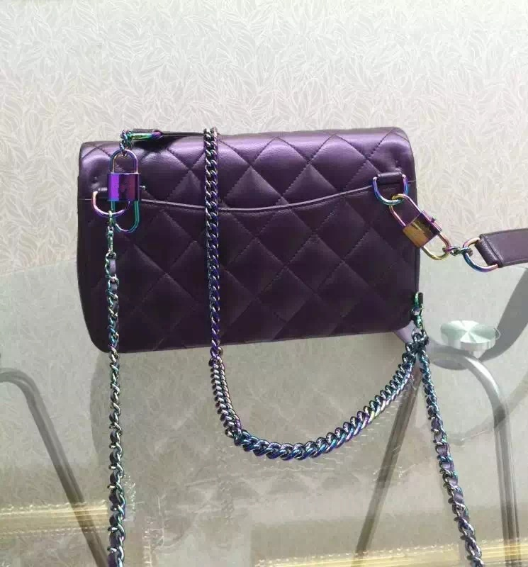 2016 spring new Rainbow /colorful chain hardware CF flap messenger bag Women shoulder bag  green /purple /black /coppery <br><br>Aliexpress
