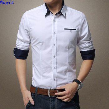 [ Magic ] горячие с длинным рукавом для мужчин рубашка отказобезопасные карман кнопку-тонкий накосные тонкий хлопок 6 цвет м-5xl 1306
