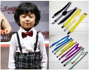 2-children`s Unisex Clip-on Braces Elastic Slim Suspender 1inch wide mix Y- back Suspenders & Retail - superstar store