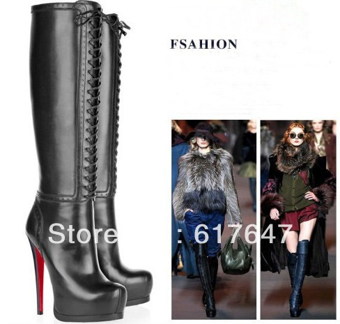 2013 Hot Selling Women Winter Black Lace-up Genuine Leather High Heel Boots Red Bottom - Fashion Western Style Boutique store