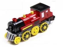 Magnetic electric train locomotive sound emitting battery operated fit for all wooden train track set toys for children (China (Mainland))