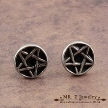 New Arrival Products Goth Punk Jewelry Earrings Stars Man Black Earring Free Shipping(China (Mainland))