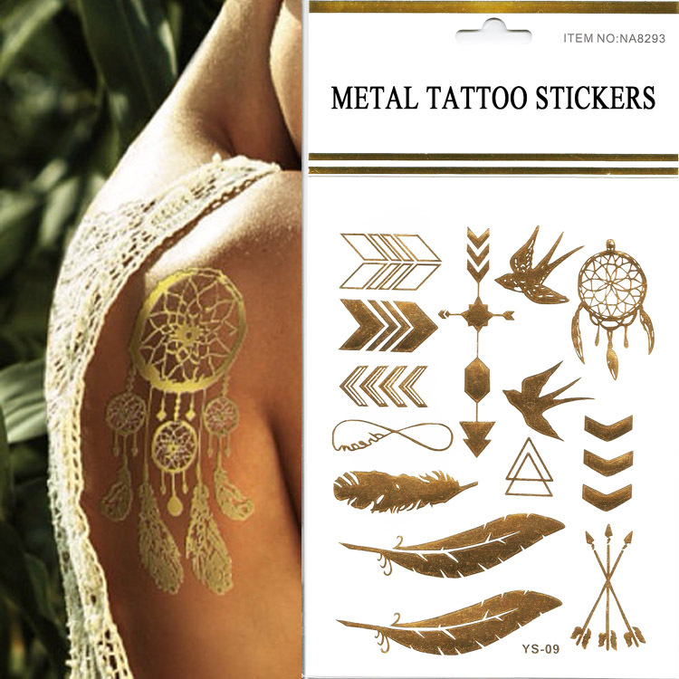 Cheap Sale 1pcs New Design Swallows / Feather / Arrow Metallic Temporary Flash Tattoo Fake Chalker Tatoo Stickers On The Body(China (Mainland))