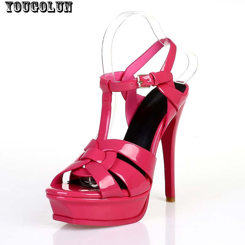 T-Strap High Heel(14cm/10cm) Sandals Women Summer Sexy Thin Heel Sandal Fashion Ladies Platform Summer Shoes Woman Leather Shoe