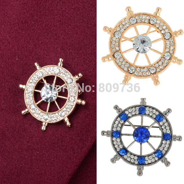 2015 New Design Brooch Crystal Rhinestone Neutral Navy Anchor Rudder Badge Brooches Pin For Dresses Women Men Jewelry Free(China (Mainland))