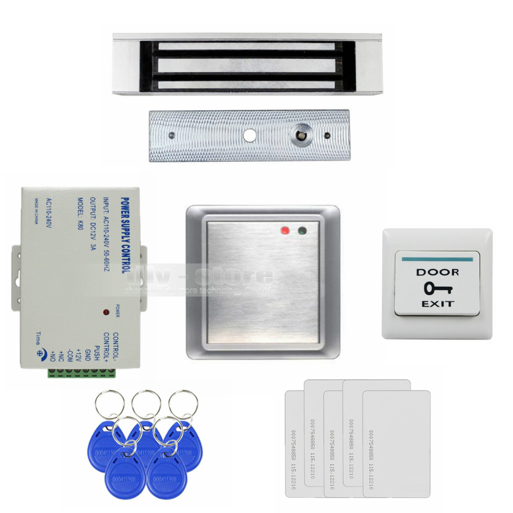 Waterproof Remote Control Without Keypad ID Card Reader + 180KG Magnetic Lock Access Control System Full Kit Set 8168A(China (Mainland))