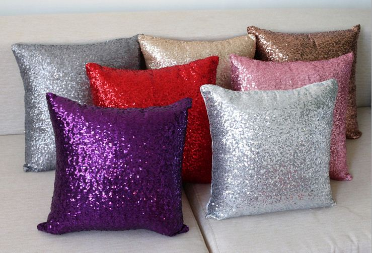 Sofa Silver Throw Pillows Decorative Cushions Cover Sequin Pillow Covers Purp